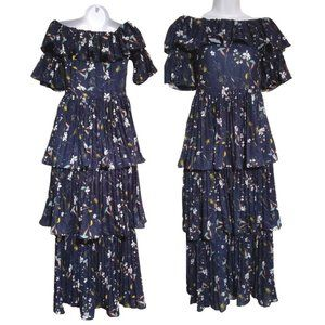 Navy Floral Tiered Maxi Off Shoulder Formal pleats